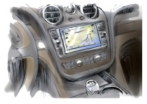 The live music is amplified using an FM channel on the in car entertainment system.