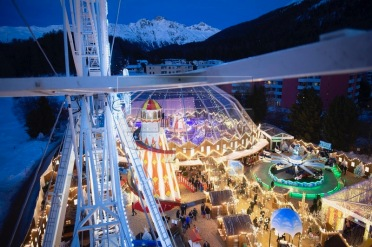 epa07397339 General view of a private luna park for a Indian pre-wedding party in St. Moritz, Switzerland, 25 Februray 2019. Indian Akash Ambani, son of billionaire Mukesh Ambani, and Shloka Mehta, daugther to Russel Metha, manager of diamond company Rosy Blue India, will celebrate their pre-wedding ceremony from Sunday to Tuesday. It is said to cost millions of Swiss Francs. Some 850 guests will attend the private Party. EPA-EFE/GIAN EHRENZELLER
